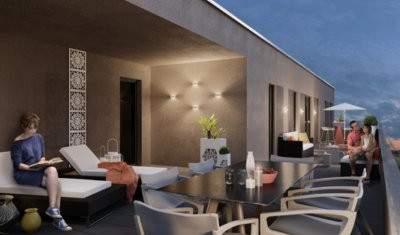 Vue d'une terrasse aux Amandiers - Héricourt - Anthéus Promotion