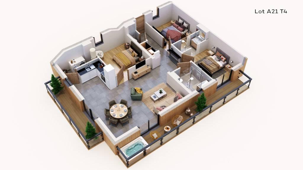 Vue 3D des lots A11 A21 aux Terrasses du Champelet